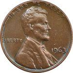 سکه 1 سنت 1963 لینکلن - EF40 - آمریکا