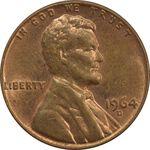 سکه 1 سنت 1964D لینکلن - MS63 - آمریکا