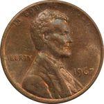 سکه 1 سنت 1967 لینکلن - MS62 - آمریکا