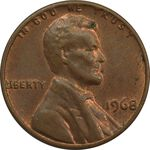 سکه 1 سنت 1968 لینکلن - MS62 - آمریکا
