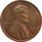 سکه 1 سنت 1969D لینکلن - MS62 - آمریکا