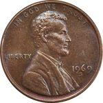 سکه 1 سنت 1969S لینکلن - MS62 - آمریکا
