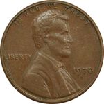 سکه 1 سنت 1970D لینکلن - EF - آمریکا