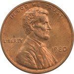 سکه 1 سنت 1980 لینکلن - MS63 - آمریکا