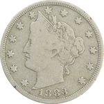 سکه 5 سنت 1883 نماد آزادی (بدون سنت) - VF25 - آمریکا