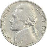 سکه 5 سنت 1962D جفرسون - VF35 - آمریکا