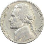 سکه 5 سنت 1969D جفرسون - AU - آمریکا
