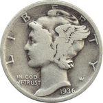 سکه 1 دایم 1936 مرکوری - VF20 - آمریکا
