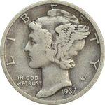 سکه 1 دایم 1937S مرکوری - VF30 - آمریکا