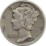 سکه 1 دایم 1942S مرکوری - VF30 - آمریکا