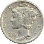 سکه 1 دایم 1943D مرکوری - VF30 - آمریکا