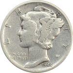 سکه 1 دایم 1944 مرکوری - VF30 - آمریکا