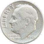سکه 1 دایم 1946D روزولت - VF30 - آمریکا