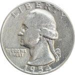 سکه کوارتر دلار 1954 واشنگتن - VF25 - آمریکا