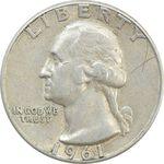 سکه کوارتر دلار 1961 واشنگتن - VF30 - آمریکا
