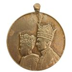 مدال برنز آویزی تاجگذاری 1346 (روز) بدون روبان - EF - محمد رضا شاه