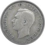 سکه 1 شیلینگ 1938 جرج ششم - تیپ 2 - EF40 - انگلستان