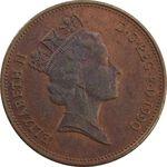 سکه 2 پنس 1990 الیزابت دوم - AU58 - انگلستان
