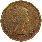 سکه 3 پنس 1957 الیزابت دوم - AU58 - انگلستان