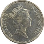 سکه 5 پنس 1991 الیزابت دوم - AU58 - انگلستان