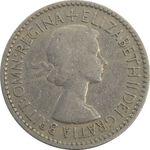 سکه 6 پنس 1953 الیزابت دوم - VF30 - انگلستان
