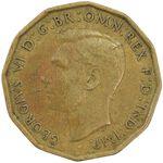 سکه 3 پنس 1945 جرج ششم - EF40 - انگلستان
