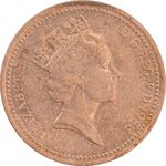 سکه 1 پنی 1986 الیزابت دوم - AU50 - انگلستان