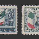 تمبر دیدار گرونچی رئیس جمهور ایتالیا 1336 - محمدرضا شاه