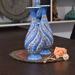 گلدان میناکاری طرح گل و مرغ - 25 سانتی در چیدمان