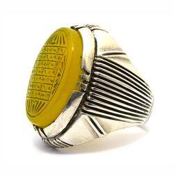 انگشتر نقره مردانه عقیق زرد شرف الشمس (هفت شرف)