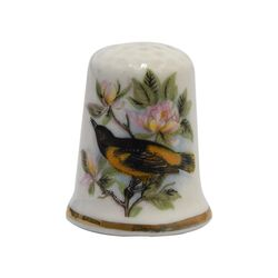 انگشتانه چینی قدیمی طرح گل و مرغ - کد 005795