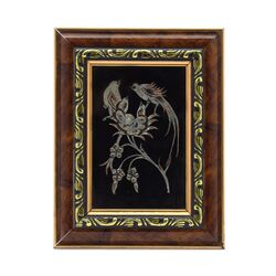 تابلو قلمزنی طرح گل و مرغ 14×18 سانتی