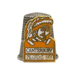 انگشتانه نقره قدیمی با طرح کنتربری - کد 007105
