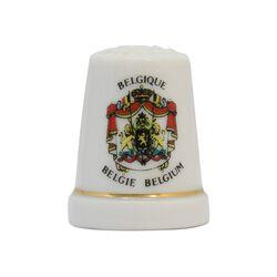 انگشتانه چینی قدیمی با طرح نشان ملی پادشاهی بلژیک  - کد 007058