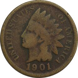 سکه 1 سنت 1901 سرخپوستی - VF20 - آمریکا