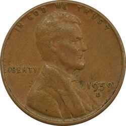 سکه 1 سنت 1959D لینکلن - EF40 - آمریکا