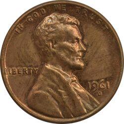 سکه 1 سنت 1961D لینکلن - AU - آمریکا