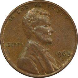 سکه 1 سنت 1963D لینکلن - EF45 - آمریکا