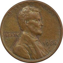 سکه 1 سنت 1964D لینکلن - EF40 - آمریکا
