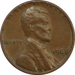 سکه 1 سنت 1968 لینکلن - EF40 - آمریکا