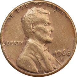 سکه 1 سنت 1968S لینکلن - VF - آمریکا