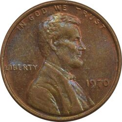 سکه 1 سنت 1970 لینکلن - MS63 - آمریکا