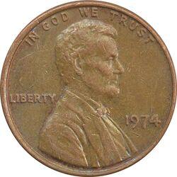 سکه 1 سنت 1974 لینکلن - EF - آمریکا