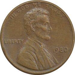 سکه 1 سنت 1980 لینکلن - EF - آمریکا