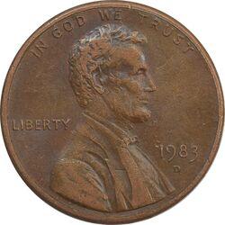 سکه 1 سنت 1983D لینکلن - EF - آمریکا