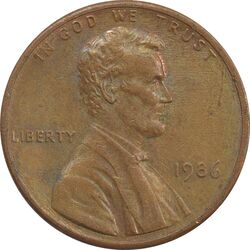 سکه 1 سنت 1986 لینکلن - EF - آمریکا
