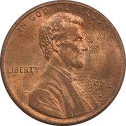 سکه 1 سنت 1986D لینکلن - MS64 - آمریکا