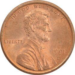 سکه 1 سنت 1991D لینکلن - MS63 - آمریکا