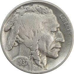 سکه 5 سنت 1937 بوفالو - VF35 - آمریکا