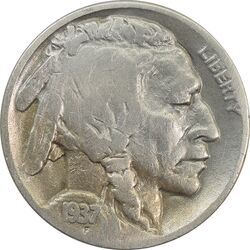 سکه 5 سنت 1937 بوفالو - VF30 - آمریکا